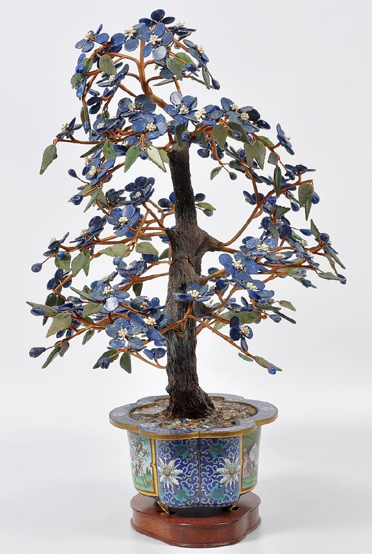 Chinese Lapis Tree Cloisonné Base - 9