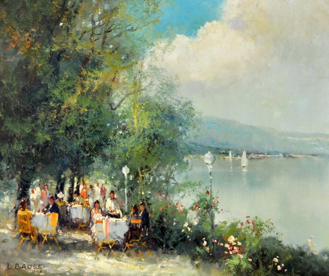 """Willi Bauer """"Coffee Garden"""" Oil Painting"""
