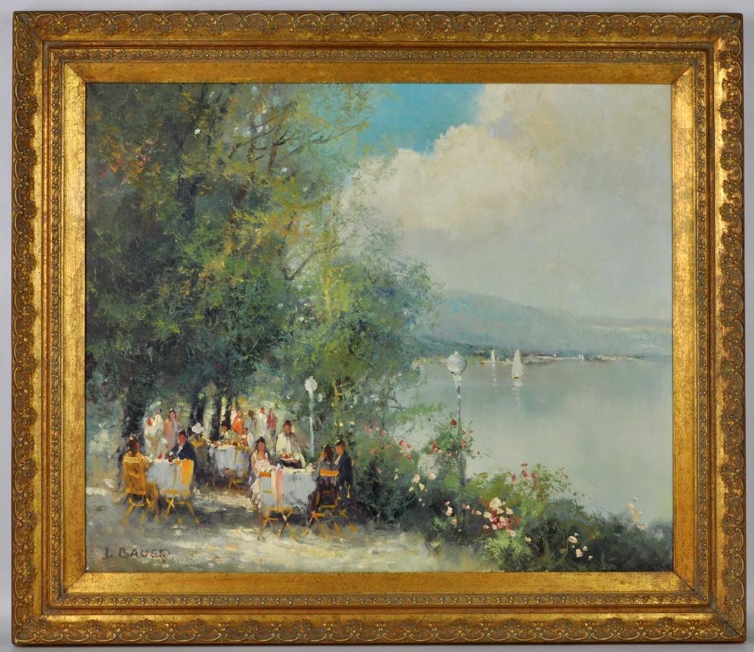 """Willi Bauer """"Coffee Garden"""" Oil Painting - 2"""