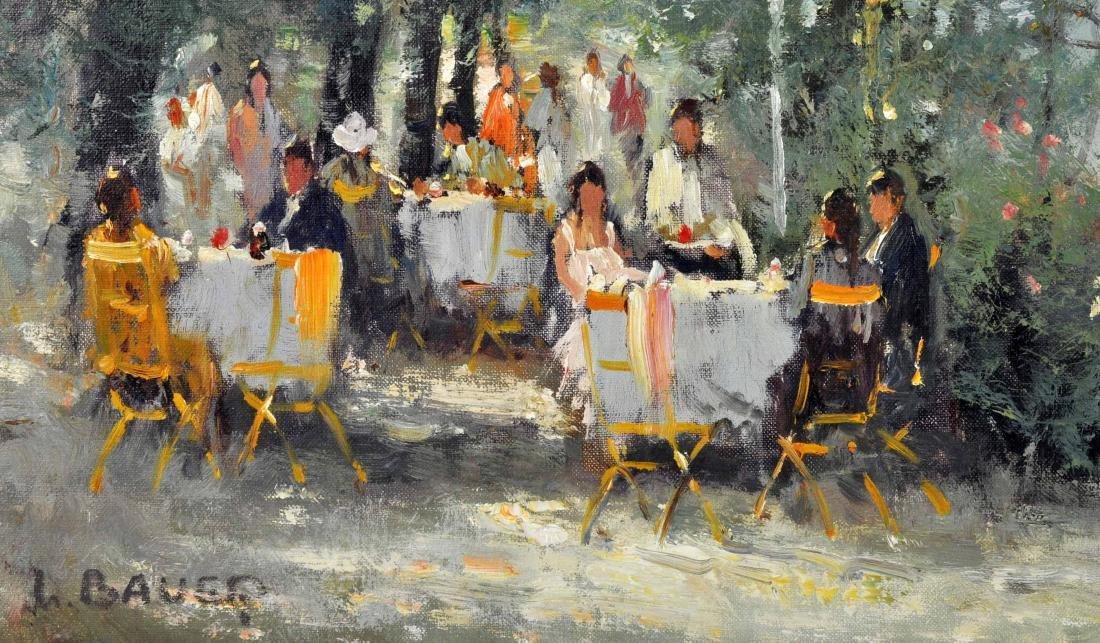 """Willi Bauer """"Coffee Garden"""" Oil Painting - 3"""