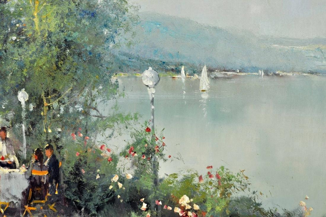 """Willi Bauer """"Coffee Garden"""" Oil Painting - 5"""