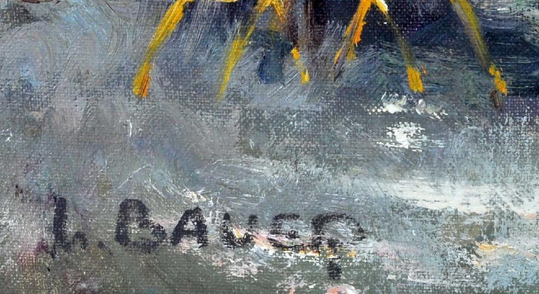 """Willi Bauer """"Coffee Garden"""" Oil Painting - 6"""