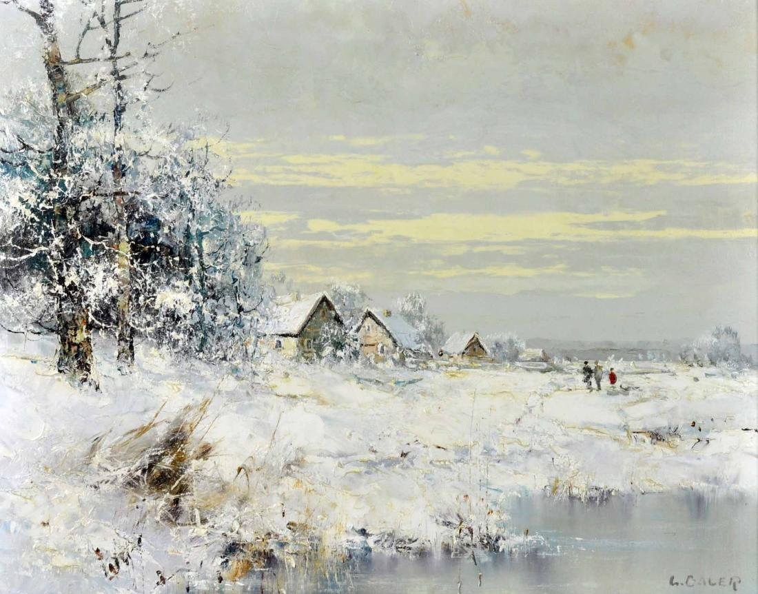 """Willi Bauer """"Snow"""" Oil Painting"""