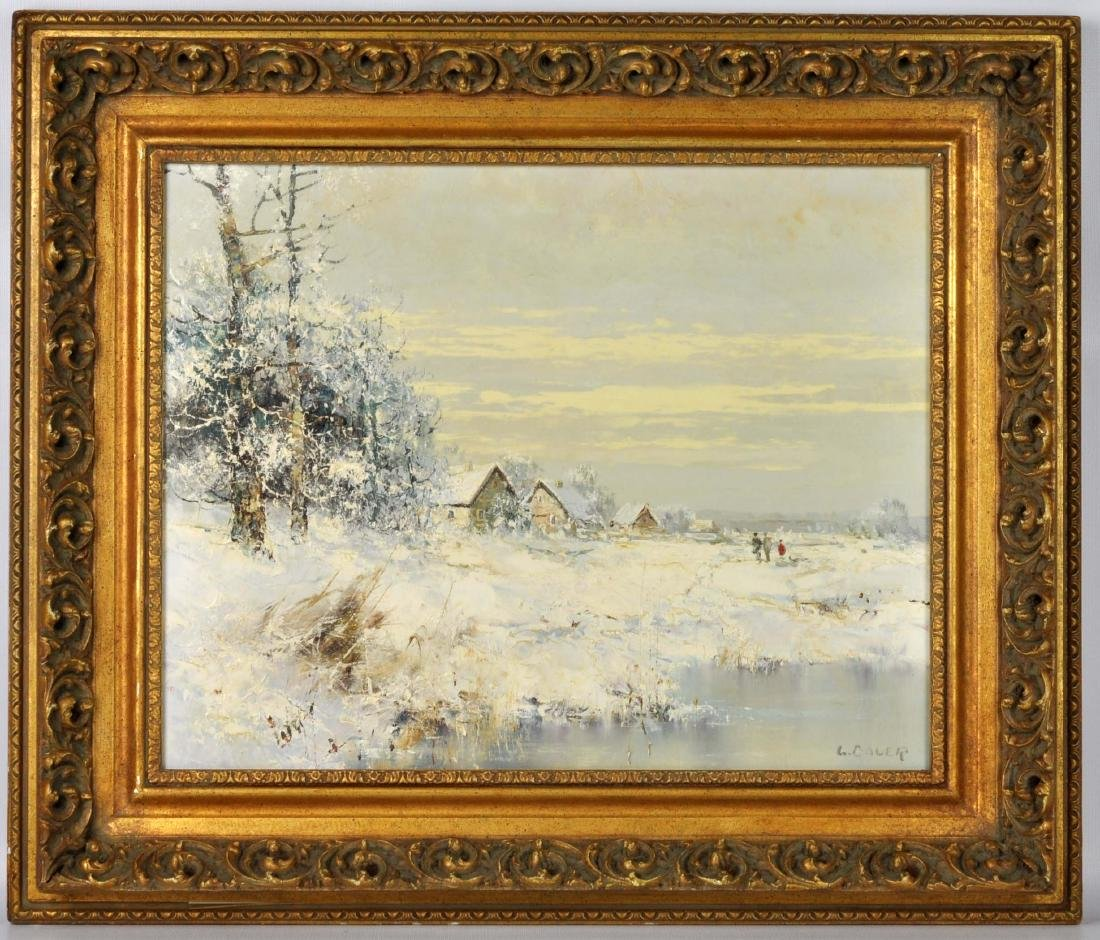 """Willi Bauer """"Snow"""" Oil Painting - 2"""