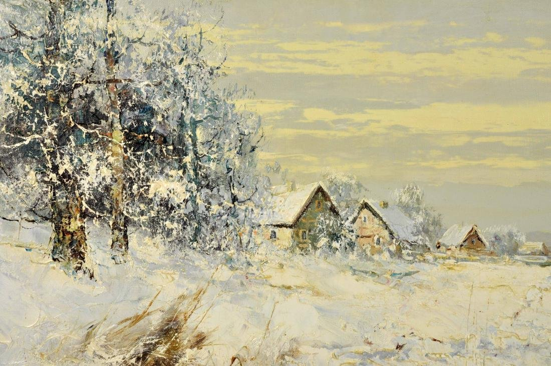 """Willi Bauer """"Snow"""" Oil Painting - 3"""