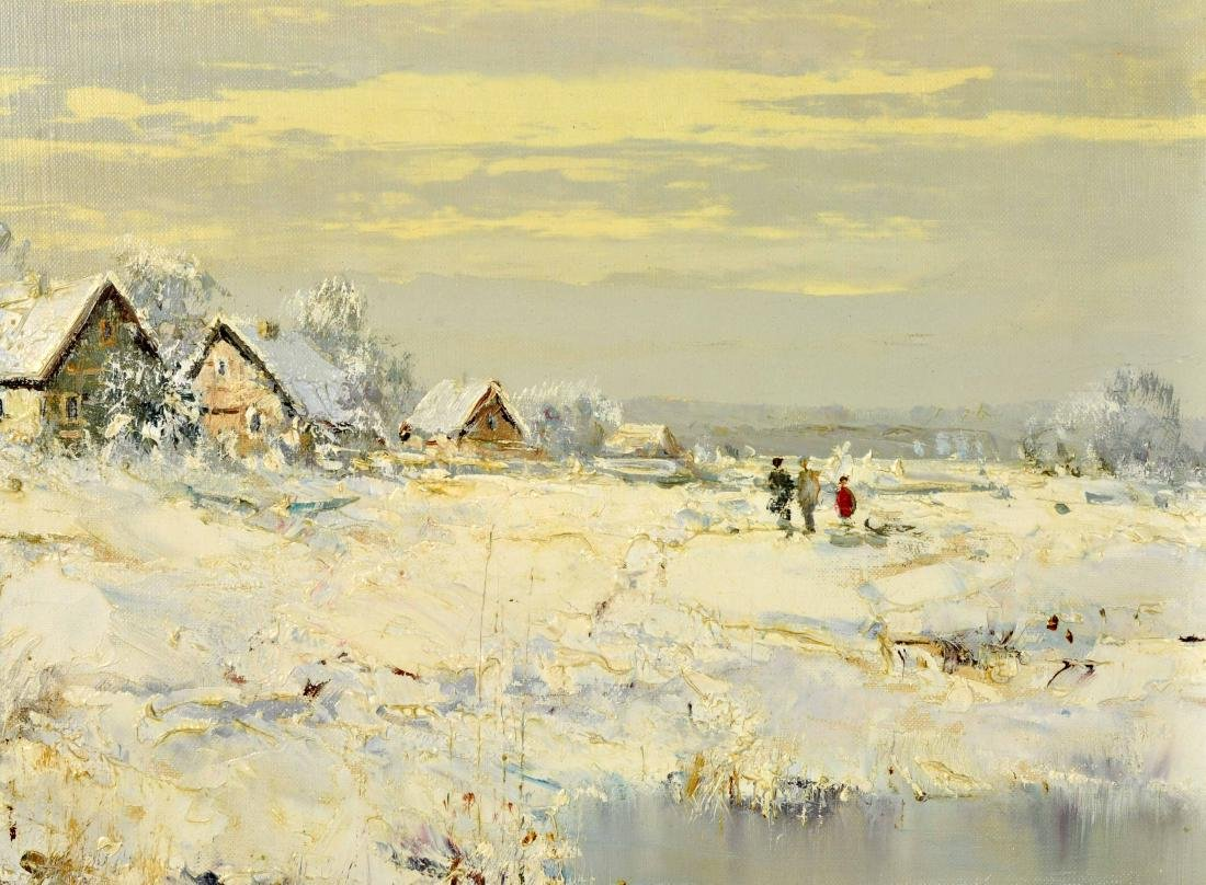 """Willi Bauer """"Snow"""" Oil Painting - 4"""