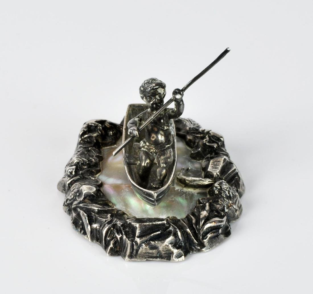 French Sterling Fisherman Cherub on Mother of Pearl