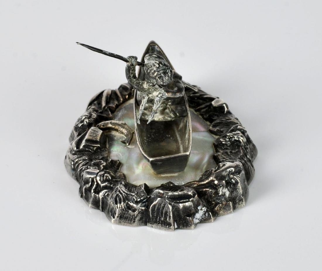 French Sterling Fisherman Cherub on Mother of Pearl - 4