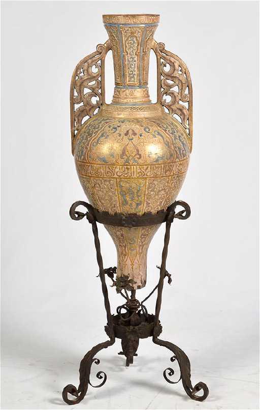 Large Antique Alhambra Spanish Amphora Vase