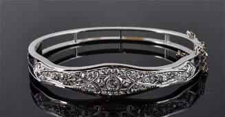 Vintage Diamond  White Gold Bangle Style Bracelet
