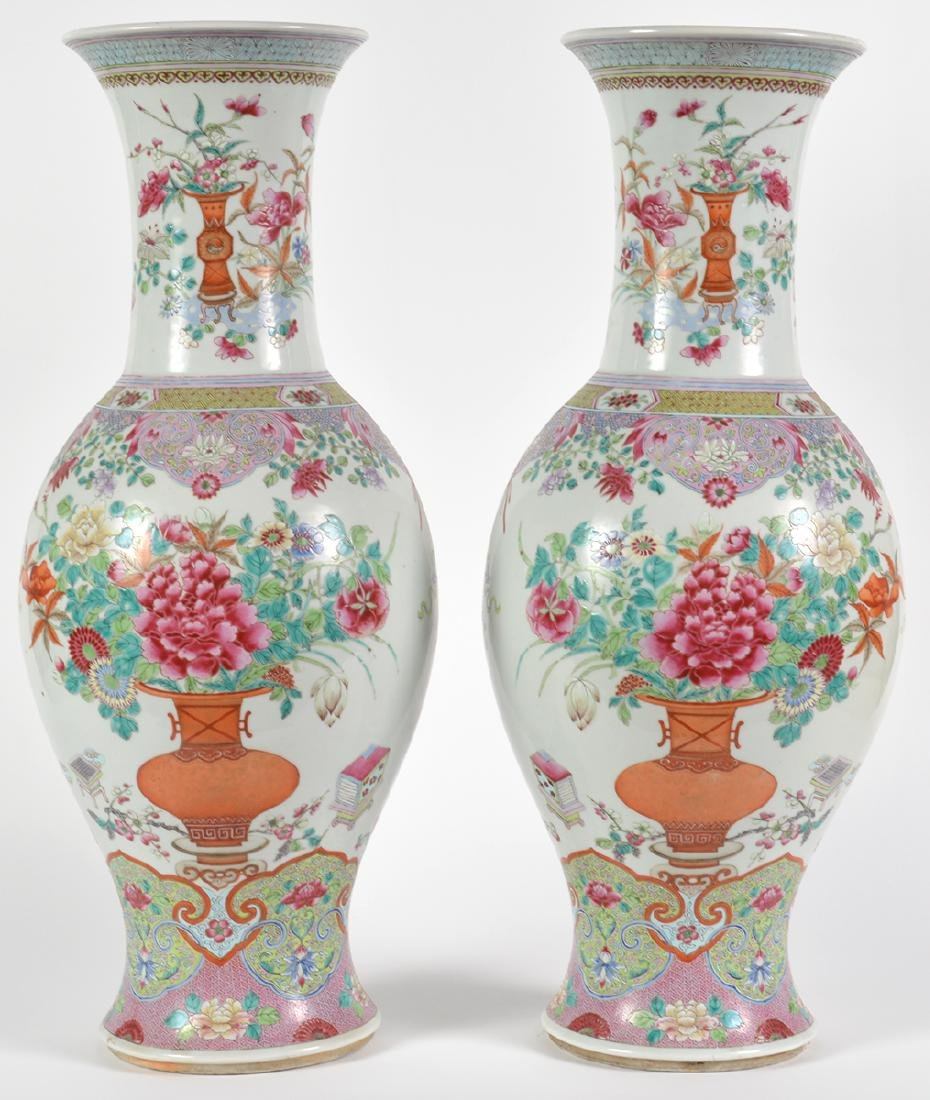 Large Pair of Chinese Porcelain Vases Qing Dynasty