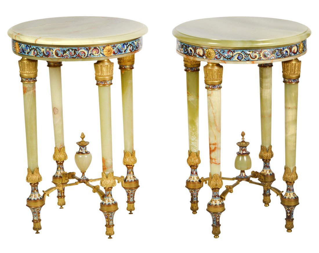 Pr. Onyx & Champleve Bronze Mounted Tables