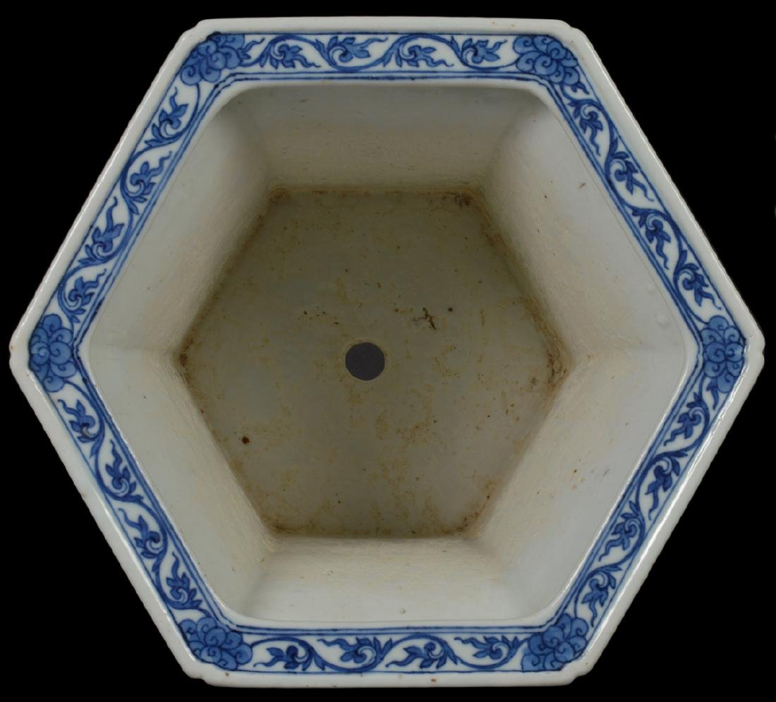 Chinese Antique Blue & White Planter - 5