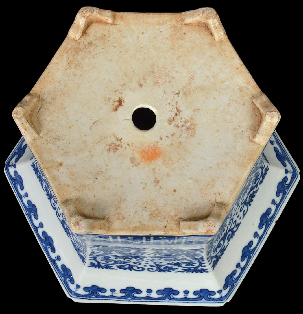 Chinese Antique Blue & White Planter - 6
