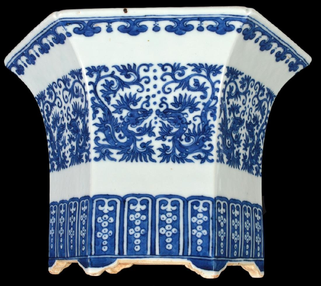 Chinese Antique Blue & White Planter - 7