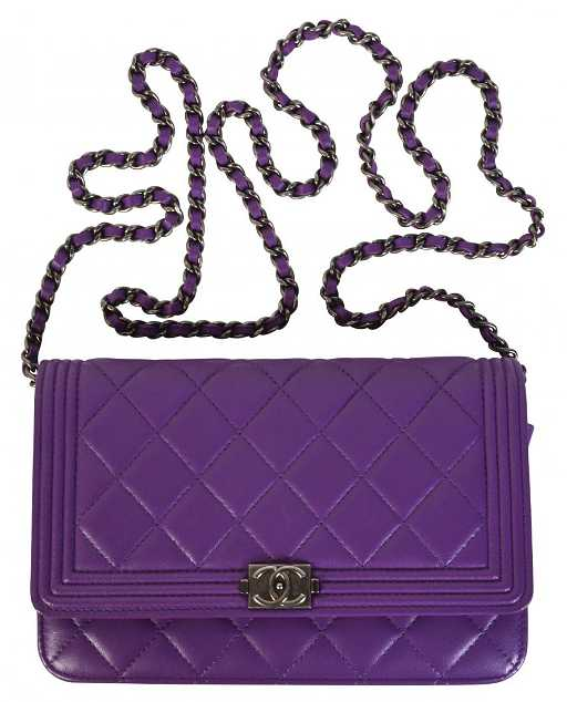 14c54f35890e89 Purple CHANEL 'Le Boy' Leather Wallet on Chain. placeholder