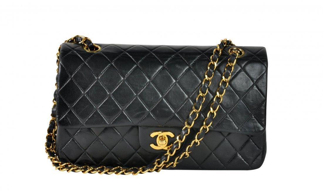 Classic CHANEL Black Lambskin Double Flap Bag