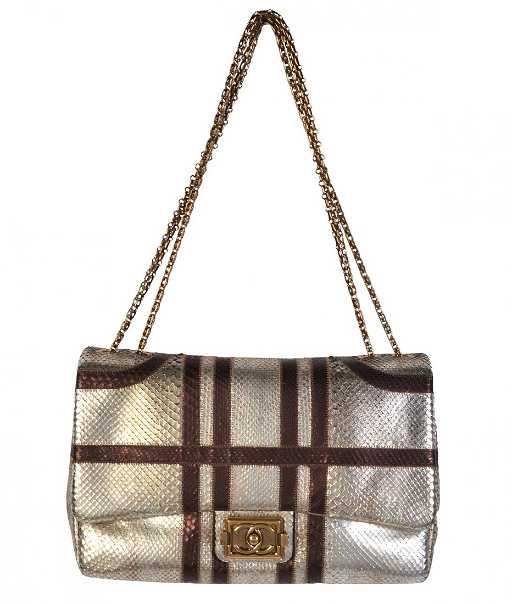 6304f81f8b2435 Rare Jumbo CHANEL Handbag with Metallic Python. placeholder. See Sold Price