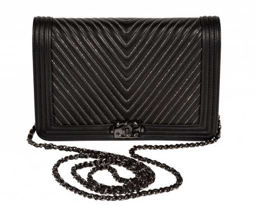 f71fd2afddd619 CHANEL 'Le Boy' Black Leather Wallet on Chain