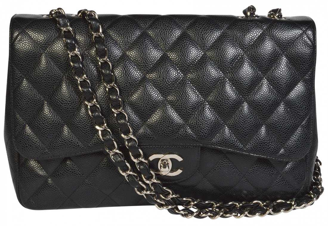 fdc65dd43e0e CHANEL Jumbo Black Caviar Flap Shoulder Bag