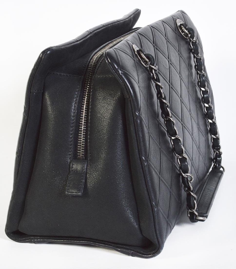 CHANEL Black Quilted Calfskin Leather Tote Bag - 10
