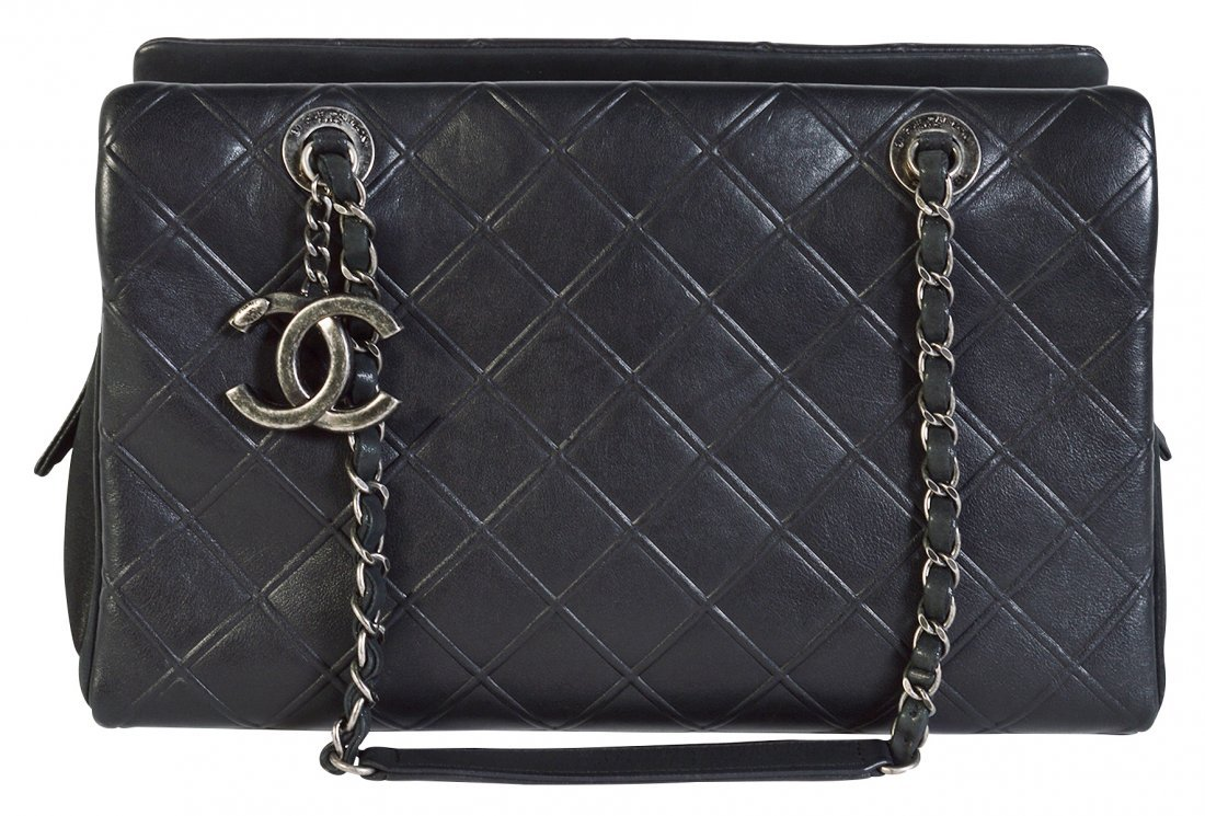 CHANEL Black Quilted Calfskin Leather Tote Bag
