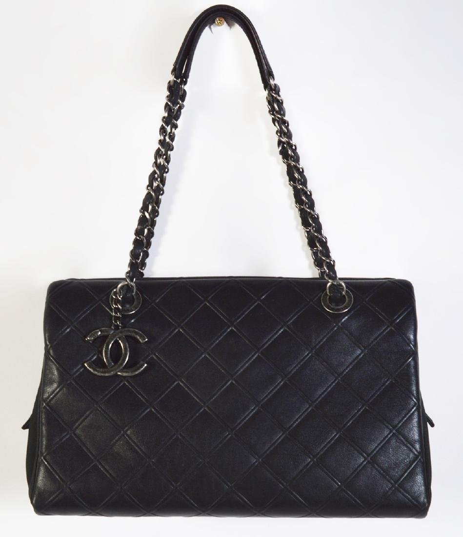 CHANEL Black Quilted Calfskin Leather Tote Bag - 7