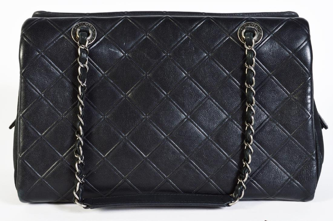 CHANEL Black Quilted Calfskin Leather Tote Bag - 9