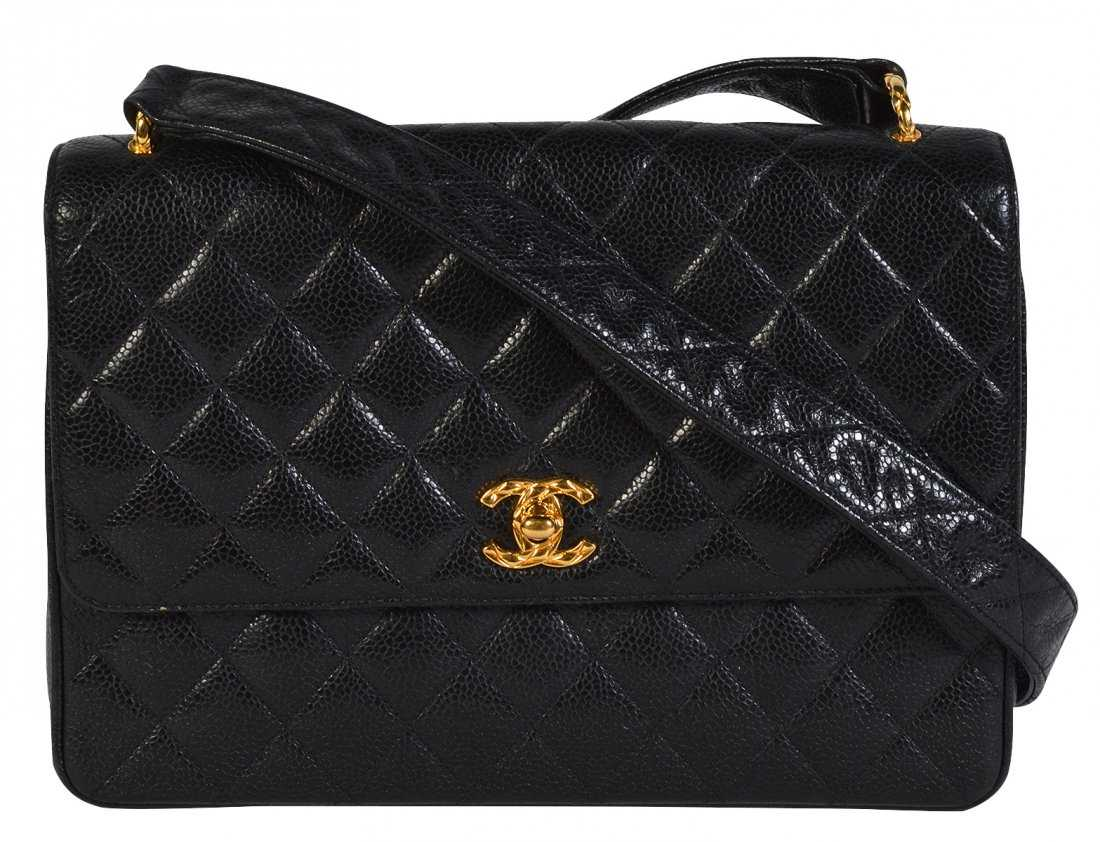 5590a2a76c42 CHANEL Black Caviar Quilted Leather Shoulder Bag
