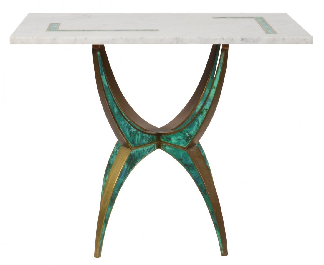 Pepe Mendoza Side Table W/ Inlaid Marble Top
