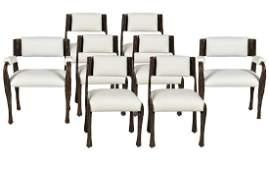 Set of 8 Paul Evans Sculptured Bronze Chairs