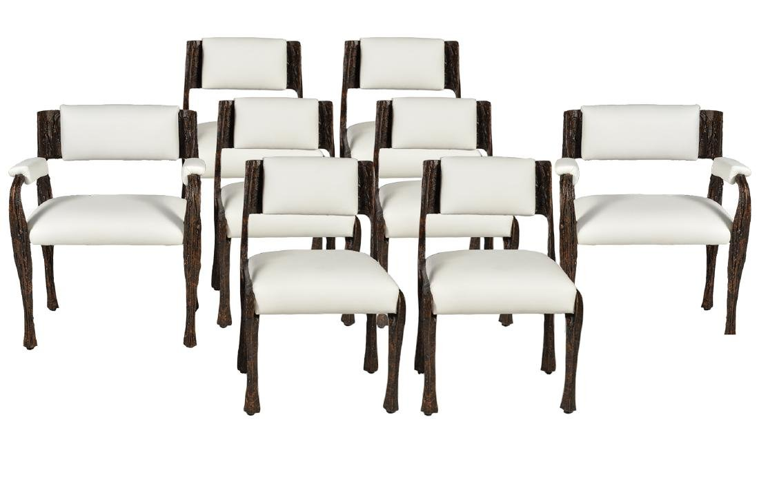Set of 8 Paul Evans Sculptured Bronze Chairs