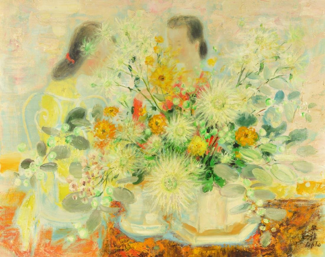 Le Pho 'Young Women with Chrysanthemums' Painting