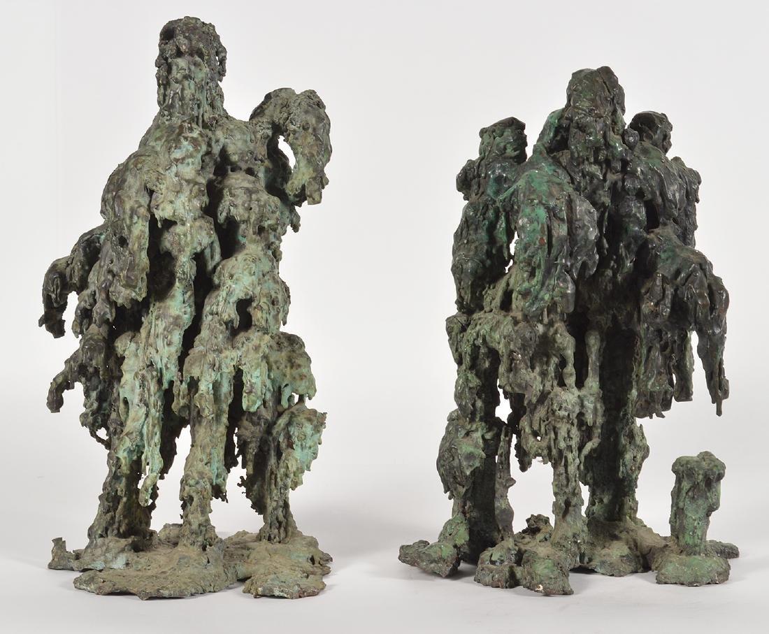Two Robert Bery Drip Bronze Sculptures