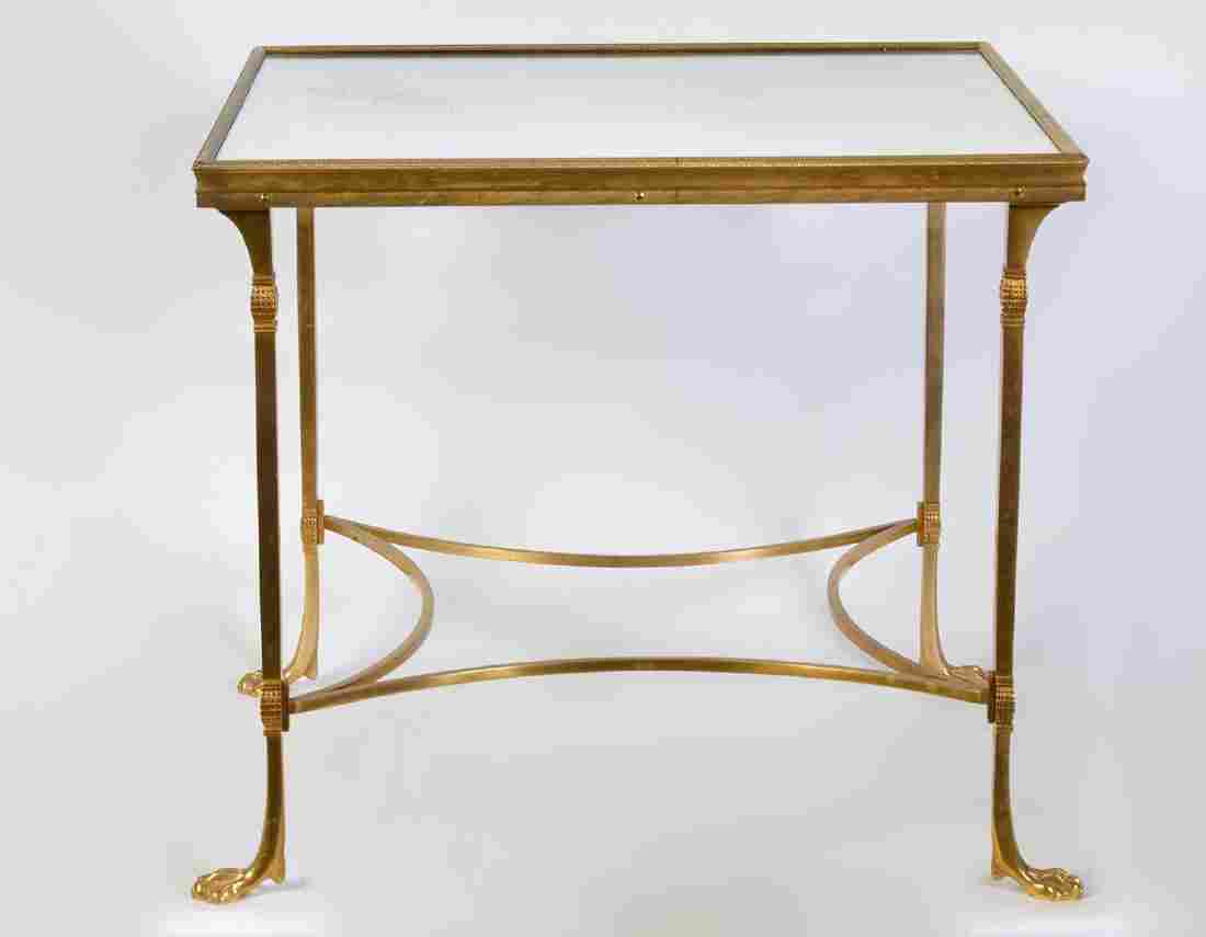 Bronze Square Side Table with Mirrored Top