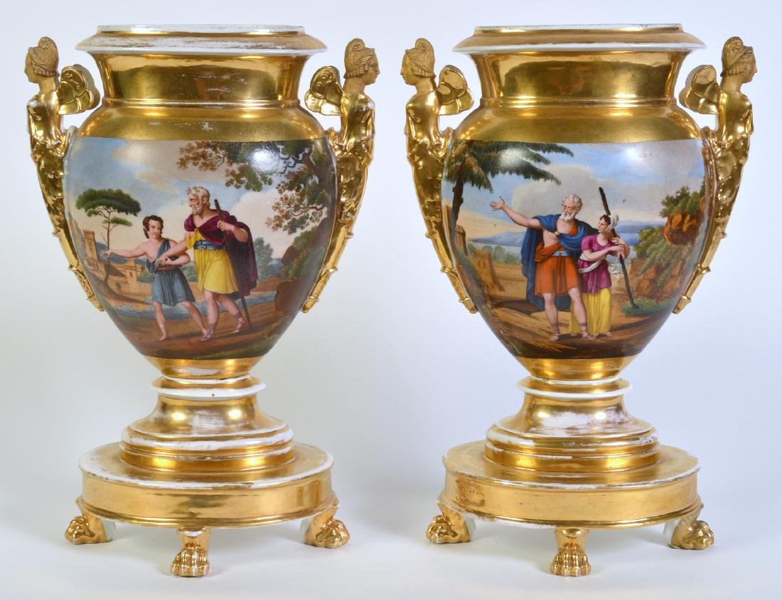 Wonderful Pair Old Paris Footed Urns