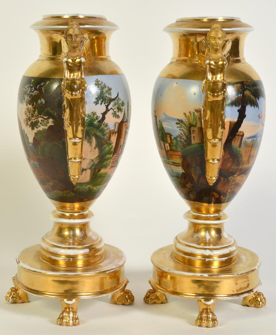 Wonderful Pair Old Paris Footed Urns - 6