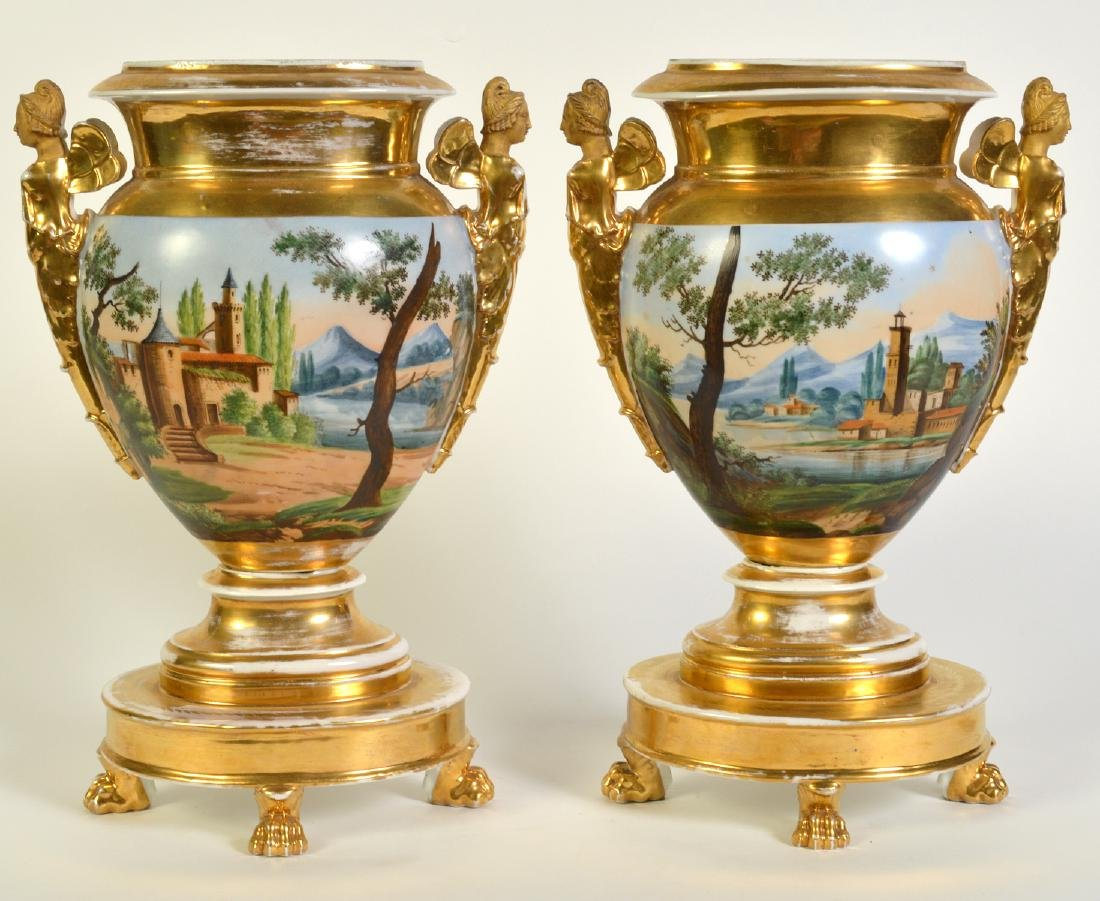 Wonderful Pair Old Paris Footed Urns - 8