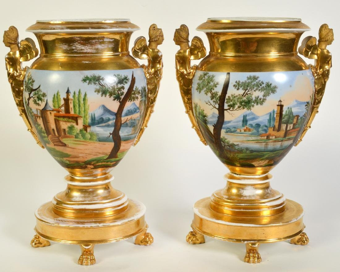 Wonderful Pair Old Paris Footed Urns - 9