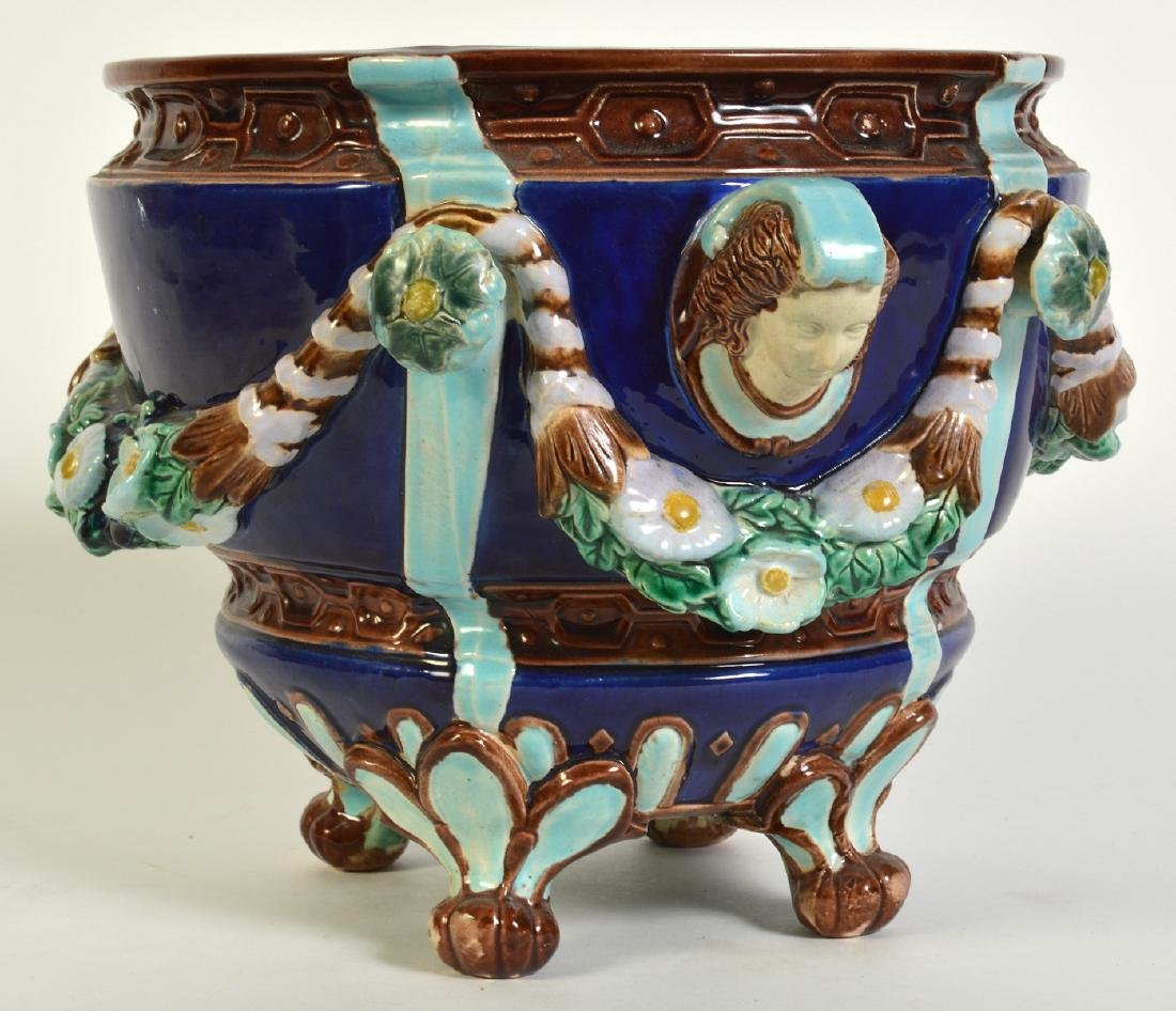 Minton Majolica Footed Jardiniere W/ Floral Swags - 2