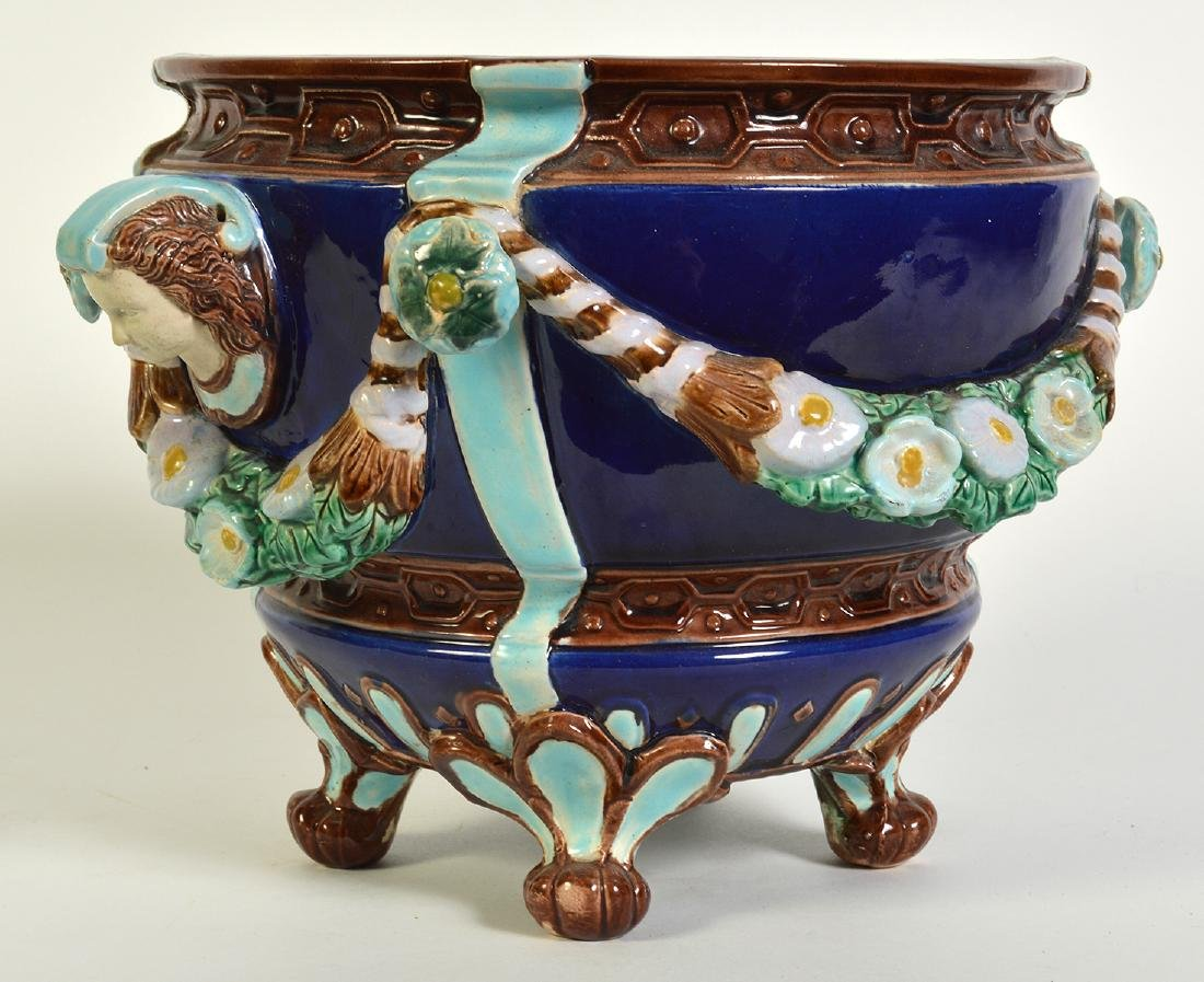 Minton Majolica Footed Jardiniere W/ Floral Swags - 3