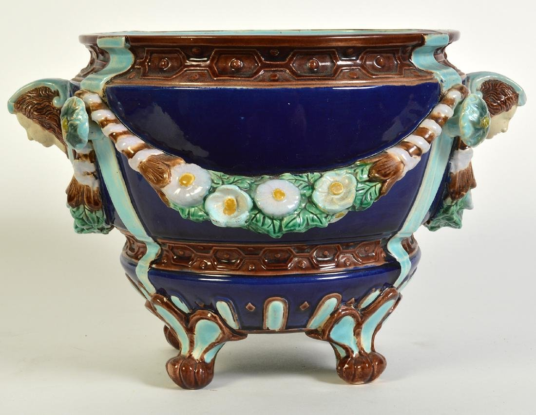 Minton Majolica Footed Jardiniere W/ Floral Swags - 4