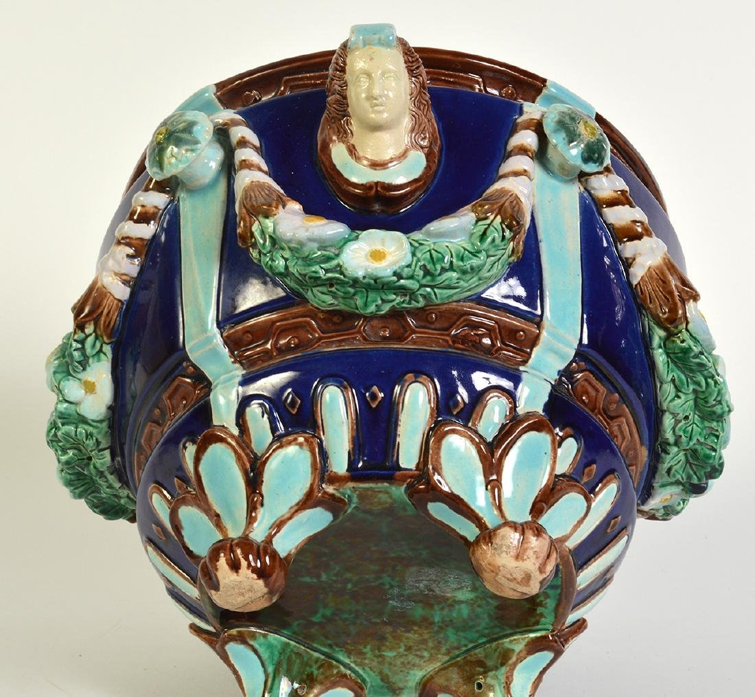 Minton Majolica Footed Jardiniere W/ Floral Swags - 5