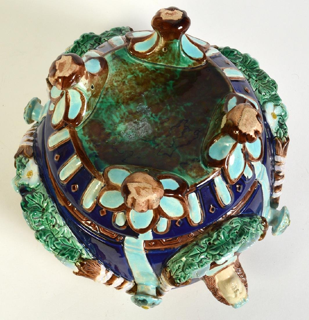 Minton Majolica Footed Jardiniere W/ Floral Swags - 7