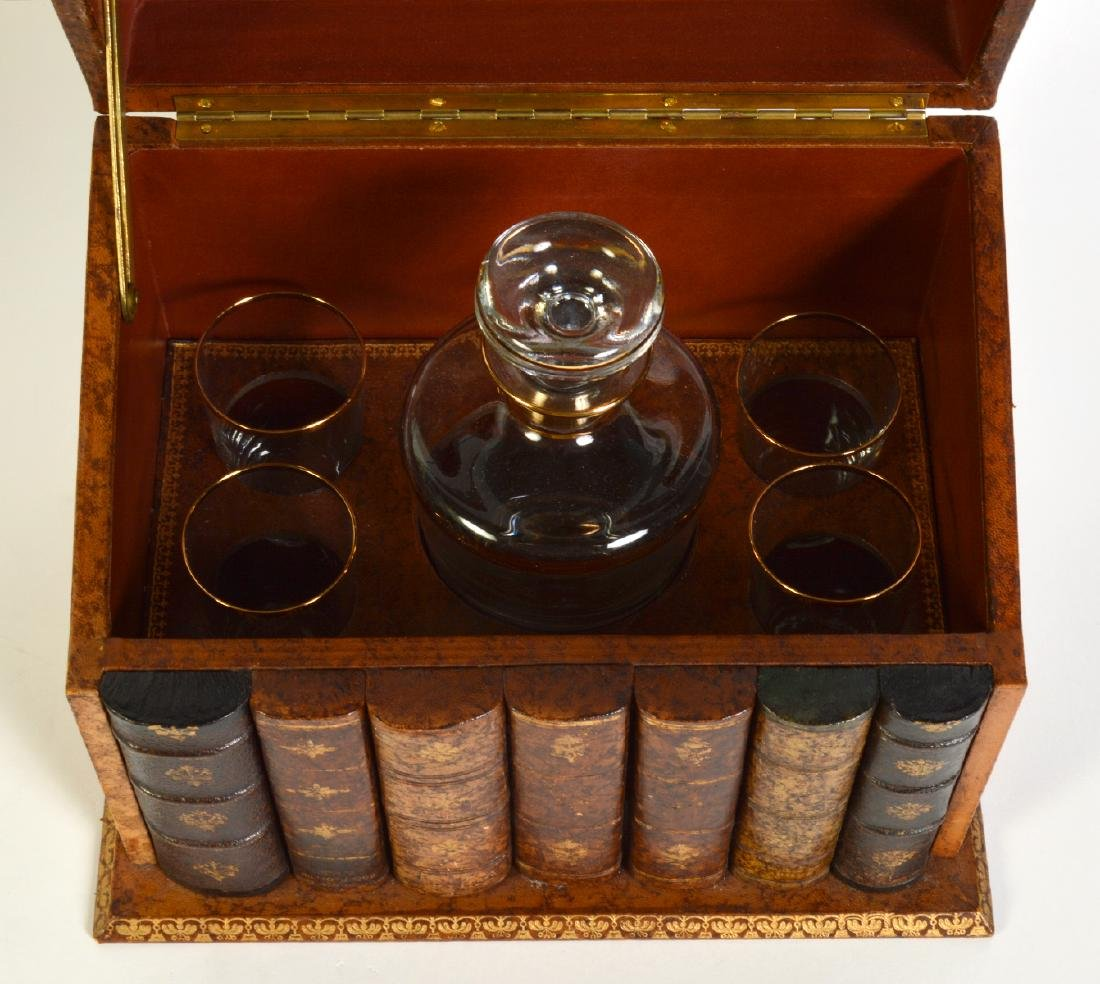 Leather Book Bar with Decanter Set - 4
