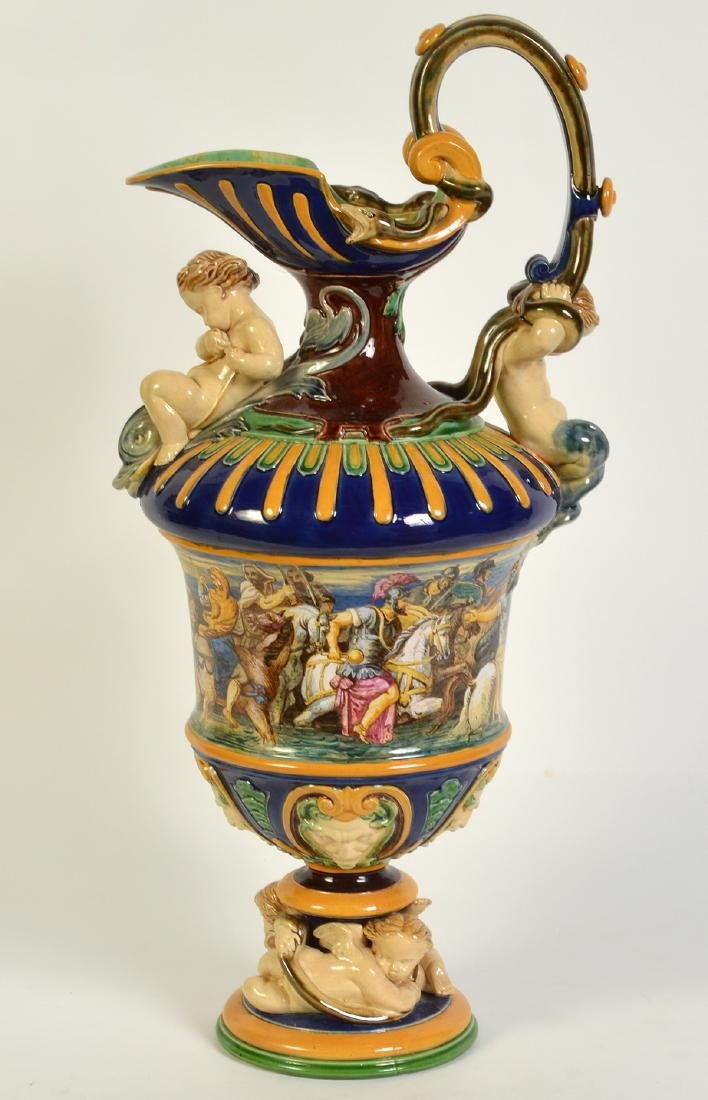 Large Hand Painted Majolica Pitcher - 10