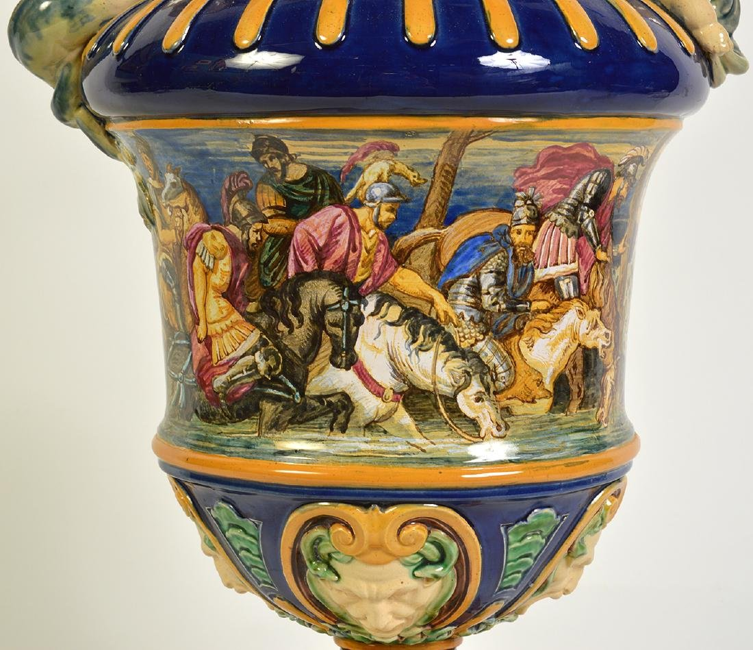 Large Hand Painted Majolica Pitcher - 3