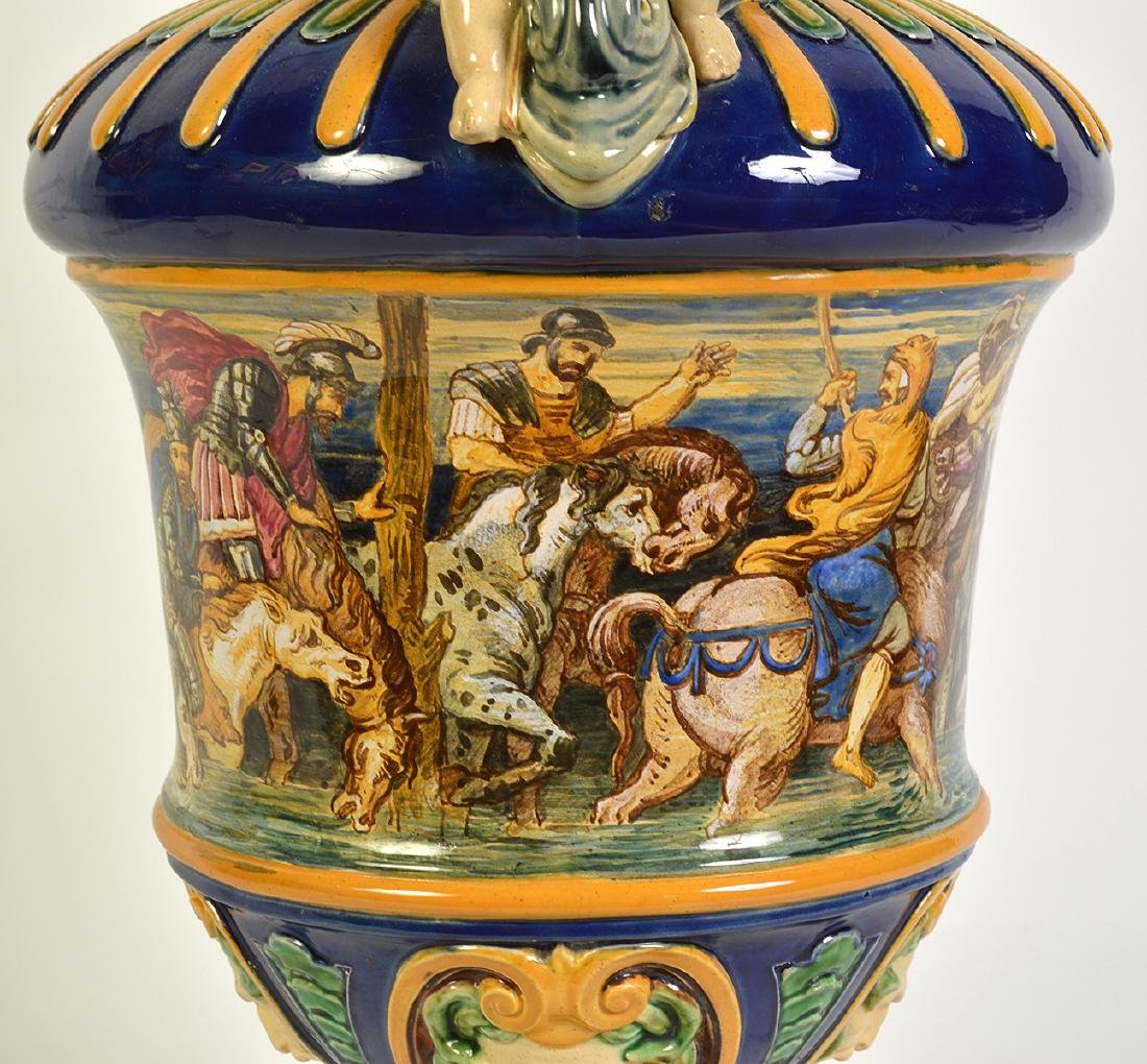 Large Hand Painted Majolica Pitcher - 6