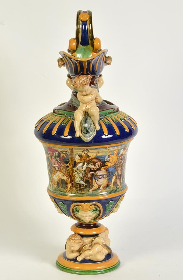 Large Hand Painted Majolica Pitcher - 9