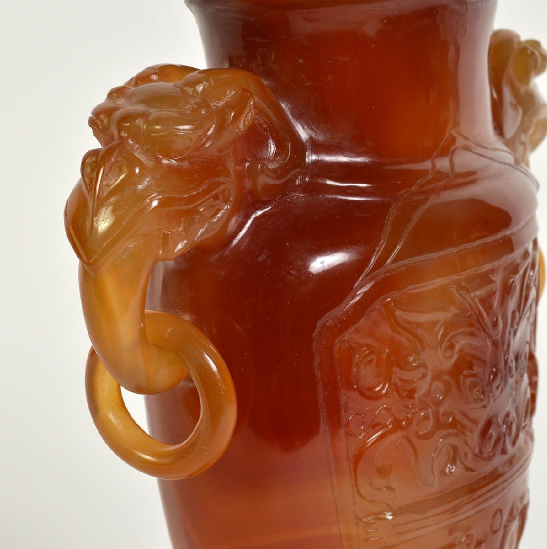 Amber Quartz Lidded Chinese Urn on Stand - 4